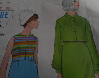 Vintage 1960's Vogue 7071 Special Design Mod Dress and Jacket Sewing Pattern, Size 16 Bust 36