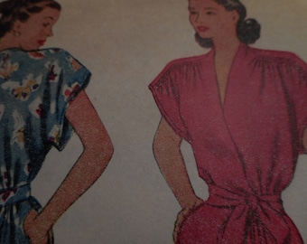 Vintage 1940's McCall 6719 Housecoat Sewing Pattern Size 12 Bust 30