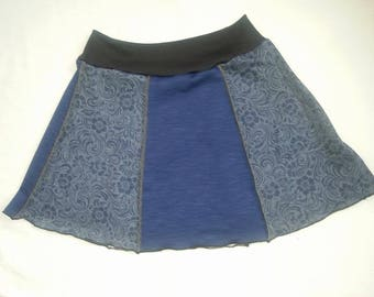 Upcycled skirt OOAK Boho Chic Medium small Blue Skirt ladies teen skirt indie re purposed eco clothing Free People style By Upcycled Swag