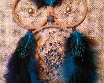 Galaxy Inspired Owl Dreamcatcher with Inner beaded webbing