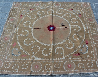 4.72' x 4.79' Suzani Vintage Suzani Old Embroidery Suzani Wall Hanging Uzbek Suzani Table Cover Ethnic Suzani FAST SHIPMENT with ups - 10965
