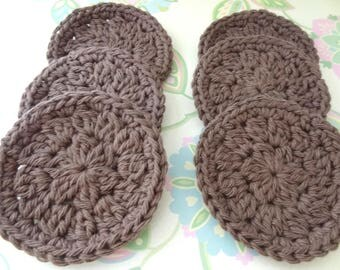 Set of 6 Crochet Dark Taupe Face Scrubbies/Facial Scrubbies/Cotton Pads/Cleansing Pads - 100% Cotton - Made to Order