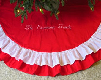 """Personalized 48"""" Ruffled Christmas Tree Skirt in Red and White with Double Ruffles or Design Your Own with Monogrammed Decoration"""