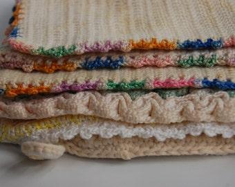 Shabby farmhouse potholder. shabby chic potholders. Vintage crochet potholder set. cream tones potholders