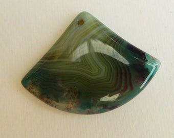 Beautiful greens and blues agate Stripe ,banded , trapezeoid Triangle agate pendant supply