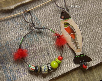 Exo-vintage earrings-bohemian earrings-rustic style-asymmetrical earrings-bird on a fish-creole and fish pendant-red-anise green-green grass