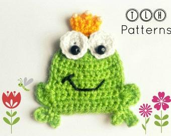 Crochet frog applique pattern, crochet pattern, applique pattern, frog applique, pattern no. 64