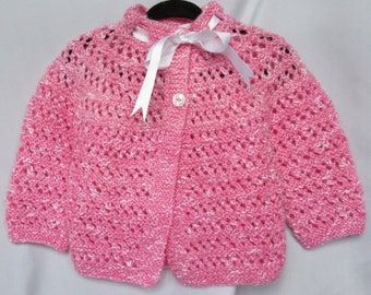 sweet hand knitted baby girl cardigan/sweater and matching beret pink and white 6-12 month