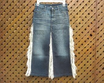 Vintage 90s NOLITA Maxi Long Denim Skirt with Slits Small - Medium