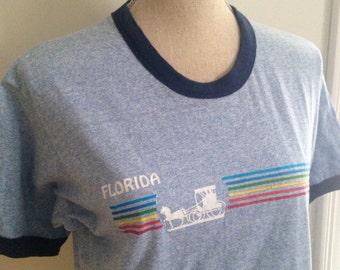 Vintage 80s Florida Rainbow Ringer Tshirt