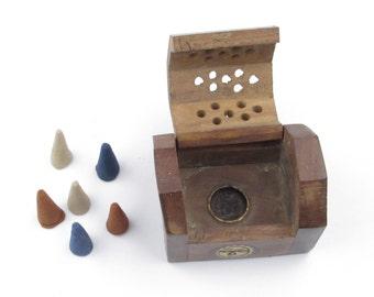 Unique Brass Sun Inlay Incense Burner - Open Filigree Wood for Cone Incense - Vintage 1960s - 1970s Home Decor