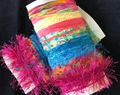 Fun Fibers 24 yards total,  8 different novelty fibers and yarns -tropical colors-for art journals, crafts, scrapbooking, embellishment