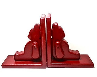 Wooden Bear Bookends Moveable Arms, Red Child Nursery Decor, Children's Library