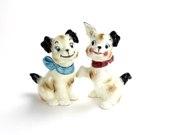 Vintage  Dogs Salt and Pepper, Kissing, Dog Shakers, Brown and White Dogs, Anthropomorphic Puppies Dogs with Bows,  Dog Figurines, Epsteam