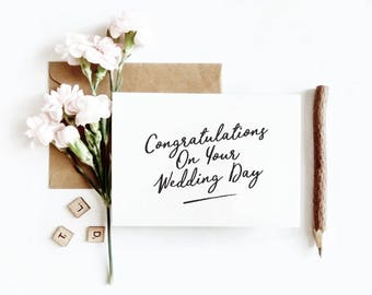 Congratulations Card - Wedding - Ceremony - Greeting Card - Mr and Mrs - Bride - Groom - Newlyweds - Modern