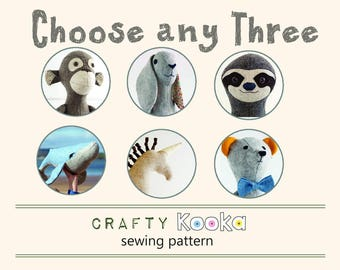 Stuffed animal pattern bundle, pdf sewing pattern, softie pattern, PDF sewing patterns  bundle of 3
