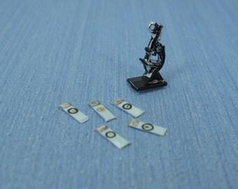 Dollhouse Vintage Microscope and Slide  dollhouse miniature Tiny Silver Laboratory Microscope