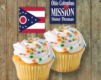 FLAG CupCake TOPPERS / LDSMissionary Homecoming / ANY Flag / #Missionary #LDSMission #WelcomeHome #DIYPrintableCupcakeToppers