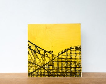 "Roller Coaster, Photo Art Block, 'Joy Ride #5' Limited Edition Image Transfer on 12""x12"" Wood Panel by Patrick Lajoie, amusement park"