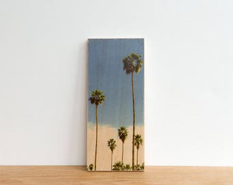 Palm Tree Photo Block, 'LA Palms' by  Patrick Lajoie, Art Block, Image Transfer Art, Los Angeles, Photography Mini, California, vintage
