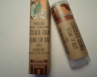 VEGAN-Chocolate Orange Vegan Lip Balm-copper color/chocolate orange flavor-with lemon balm for chapped lips-oval vegan lip balm(4.25ml)