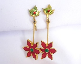 Vintage Dainty Red Green Poinsettia Holly Berry Dangle Clip On Earrings Enamel on Gold Tone Metal Small Rhinestones Holiday Christmas Gift