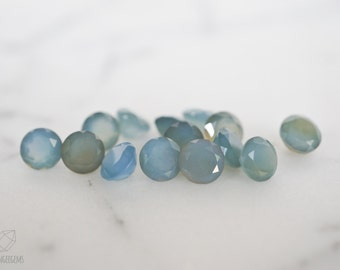 6mm faceted blue chalcedony gemstones. light blue baby blue chalcedony gem loose gems