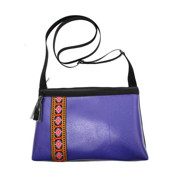 Purple vinyl, vintage trim, boho, medium crossbody, vegan leather, zipper top, tassel