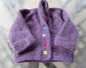 Hand knit little boy or girl's purple shawl collar cardigan