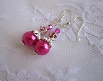 Dark Pink Bridesmaid Earrings Raspberry Wedding  Fuchsia Jewelry Watermelon Bridesmaid Gift Maid of Honor Begonia Pink