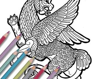 "Printable coloring page: ""Mushussu"" Instant download - PDF - fertile crescent dragon"