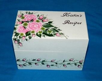 Decorative Recipe Box Personalized Recipe Card Box Hand Painted Wood Recipe Box Heirloom Wedding Advice Guest Book Box Rose Anniversary Gift