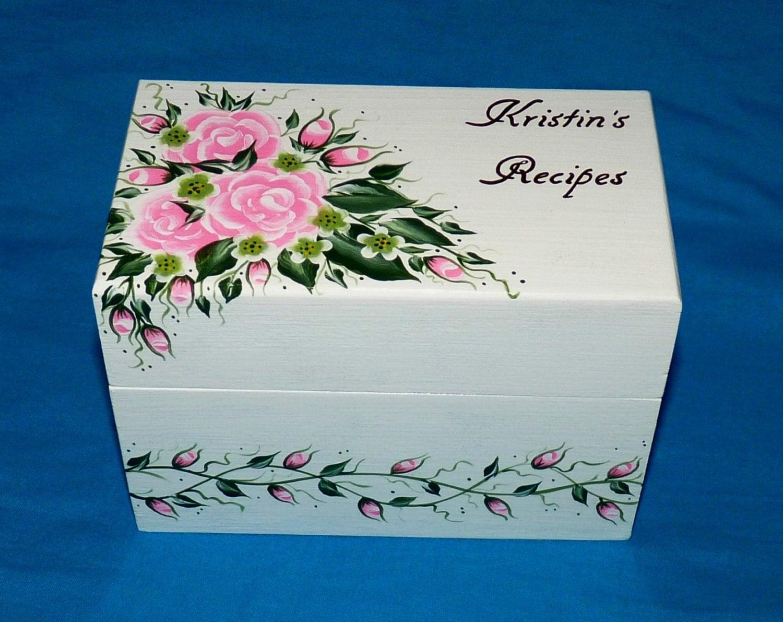 Decorative recipe box personalized recipe card box hand - Decoratie recup ...