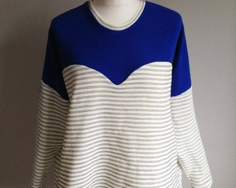 Heart Shaped Cobalt Blue and White Stripe Jumper