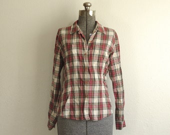 1990s Vintage Jacob Red White Green Plaid Flannel Button Down Shirt Size Small