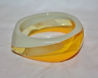 Vintage Yellow Gray  Lucite Bangle Bracelet 1960s Jewelry