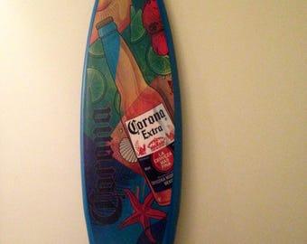 Vintage Sign/ Decorative Wall Decor/ Corona Surf board/ Beer Tiki Bar Sign/ Promotional Sign Beach House Mancave Vintage Home Decor