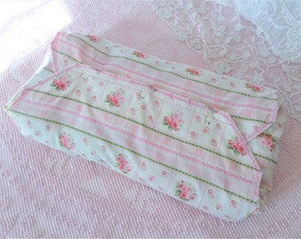 Vintage Pink Ticking Fabric Pillow Cover Envelope Bag Embroidered Linens Storage