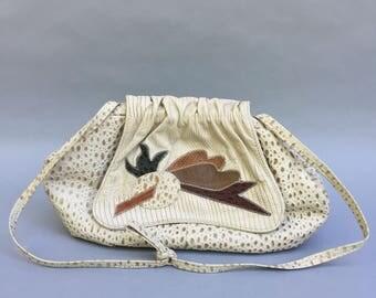 Stunning 70s Ostrich Ivory Leather Shoulder Bag w Multi Color Leaf