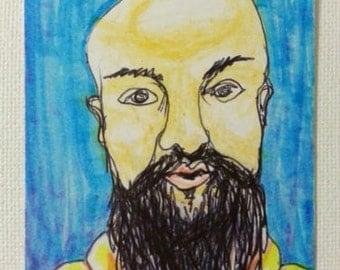 sale aceo BEARDED MAN 13 original kimartist bald brut cute face folk handsome hipster modern new pop trendy blue orange black white sfa ooak