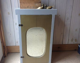 Antique Small Storage Cabinet with Mirror. One of a Kind Pantry Storage. Mirror Cabinet