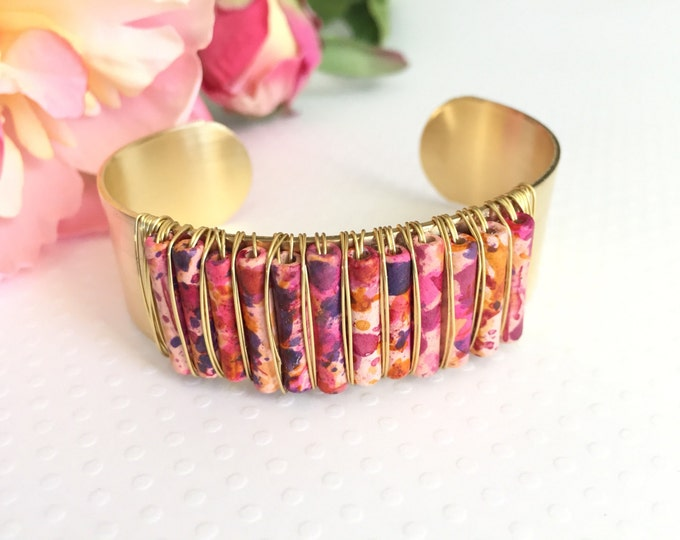 Featured listing image: Cuff Bracelet. Handmade jewelry. Pink  Beaded Wired Wrapped Cuff Bracelet. Pink and Brass Bracelet. Boho Jewelry. Chic. Wire Wrap Bracelet.