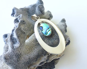 Abalone Pendant Sterling Silver Abalone Oval Swing Necklace Pendant