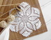 Crochet doily Small white cotton doilies Small crochet doilies Centerpiece coaster Crochet coaster Pineapple doily 355