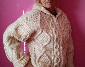 Hooded Fisherman HandKnit Sweater