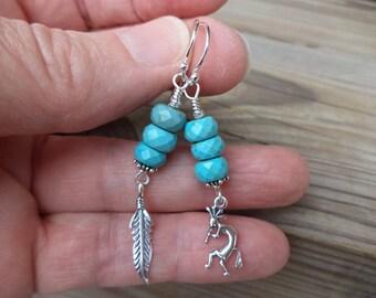 Kokopelli Earrings Turquoise Earrings Feather Earrings Feather Jewelry Kokopelli Jewelry Southwestern Earrings Made in USA Tribal Earrings