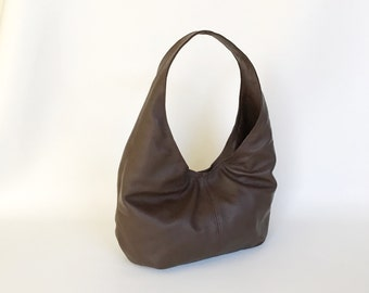 Brown Leather Hobo Purse, Everyday Casual Handmade Bag, Fashion Slouchy Handbag, Alice