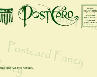 Vintage Postcard Back,POSTCARD TEMPLATE, Bold Design, Add Text, INSTANT Digital Download