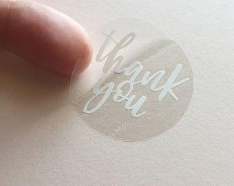 Thank You Clear Round Stickers - 40mm - 24 pack
