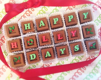 Happy Holly Days Chocolates - Christmas Chocolates - Holiday Chocolates - Holiday Hostess Gift - Christmas Gift - Holiday Party Gift